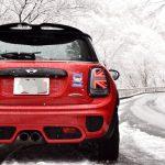 ミニJCW:雪化粧とじょんじょん。雪に赤ミニは映える件。